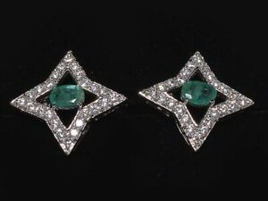 Natural Emerald And CZ Gemstone 925 Sterling Silver Men's Gift Cuff link Jewelry