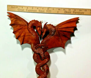 """1 - 15"""" Hard Wood, Twin Dragon Sculpture, Hand Crafted Wall Decor, Made in Bali"""
