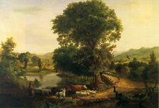 Oil painting Inness, George American - Afternoon lndscape & shepherdess & sheep