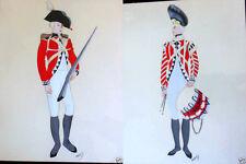 Pair BENJAMIN JORJ HARRIS Watercolor Paintings, Revolutionary War Soliders