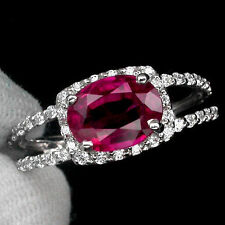 Natural Blood Red RUBY & White SAPPHIRE Stone 925 STERLING SILVER RING S7.0