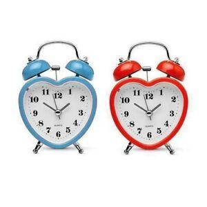 Mini Heart Shape Cute Alarm Clocks Retro Style 8 cm Double-Bell