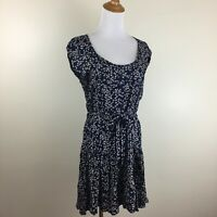 SOFT JOIE Womens S Small Dark Blue Multi Color Floral Print Belted Dress