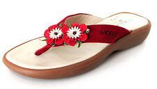SANDALES TONGS 32 cuir nubuck rouge fleurs MOD8 MOD 8 fille NEUF