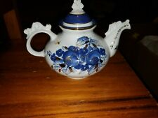 Handpainted Teapot Russia White Blue Gold