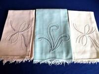 3 Vintage Woven Cotton Pastel Guest Towels Hand Embroidered Plumes