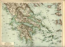 1899 = GRECIA = Antica Rara Mappa = Old Map = GREECE
