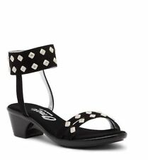 Onex Verona Black Suede Crystals Ankle Strap Sandals 6