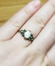 14K Gold Opal and Emerald Ring, Vintage Style, Perfect Condition