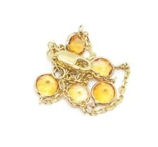 Citrine Gemstone Bracelet ,14k Yellow Gold Lobster Lock, 7 Inches