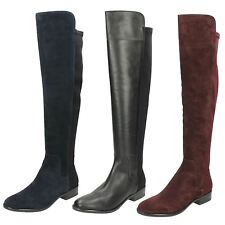Ladies Clarks Pull on Knee Length BOOTS Caddy Belle Aubergine Suede 6 UK D