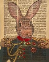OUTSIDER FOLK ART RABBIT PORTRAIT FIGURE STUDY MIXED MEDIA PAINTING ON BOOK PAGE