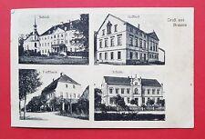 AK BRAUNA bei Kamenz 1909 Schloss, Gasthof, Forsthaus und Schule ( 31655