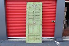 Large Antique Victorian Wood Door Green Paint Cast Iron Hardware Plank Boards