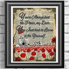 Wizard Of Oz Poppies Flowers Vintage Dictionary Page Print Picture Wall Art