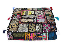 "16X16X5"" Square Floor Cushion Pillow Cover Black Patchwork Room Decorative Throw"