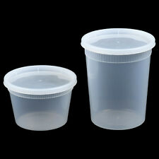 16 oz or 32 oz Heavy Duty Plastic Deli/Soup Containers with Lids, Made in U.S.A.