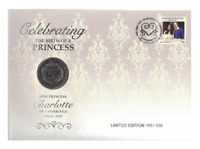 2015 £5 GB Princess Charlotte Prestige Coin & Stamp Cover PNC Mintage 500