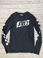 Levi's Mens Slim Fit Black White Check Long Sleeve Logo Crew Neck Shirt Size S