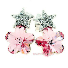 18k White Gold Plated Pink Crystals Star Flower Wedding Earring IE50