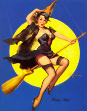 """Vintage GIL ELVGREN Pinup Girl CANVAS PRINT Poster Witch Moon Flying High 8X10"""""""