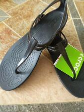Crocs Women Isabella T-Strap Sandals Black Thong Jelly Crostile Rubber SZ 8 NWT