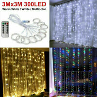 300LED/10ft Curtain Fairy Hanging String Lights Wedding Bedroom Home Decor EB