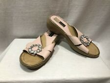 "Josef Seibel Sandal 38 7.5 Pink Leather Rhinestone Buckle Slip On Women 2"" Heel"