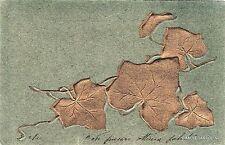 # FOGLIE D'EDERA COLOR ORO IN CAMPO VERDE SCURO a rilievo  1904