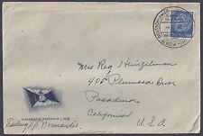 GERMANY 1937 US POSTED AT SEA HAMBURG AMERICA LINE TO PASADENA CAL