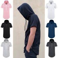 Mens Short Sleeve Hoodies Hipster Hip Pop T Shirt Men Longline Streetwear Hot