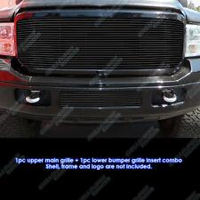 Fits 2005-2007 Ford F-250/F-350/F-450/F-550 Black Billet Grille Combo
