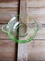 Vintage Antique Elegant Green Depression Glass Bowl Fan Handles