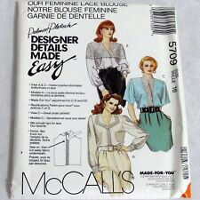 McCalls Made For You Pattern 5709 Misses Lace Blouse Uncut Size 16