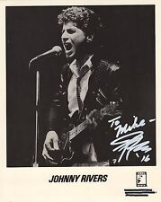 JOHNNY RIVERS HAND SIGNED 8x10 PHOTO+COA      AWESOME IN CONCERT POSE    TO MIKE