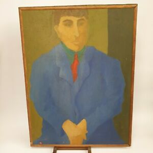 Portrait Of A Man In A Suit Style Of Pablo Picasso Oil On Board 81.5cm x 61.5cm