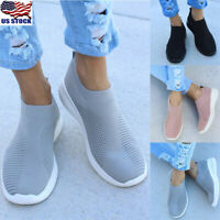 Womens Ladies Slip On Breathable Sneakers Trainers Sports Running Shoes Size US