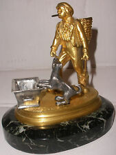 Antique gilt bronze smoking boy w/ dog cigarette matches holder figure sculpture