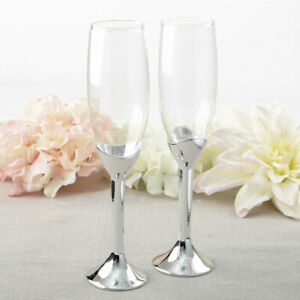 Simple Elegance Classic Silver Glass Stem Champagne Toasting Flutes Set of 2