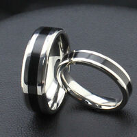 Fashion Jewelry Black Titanium Band Stainless Steel Ring For Women Men Size 6-12