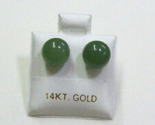 Green Jade Stud Earrings With 14K Gold Post 8mm.