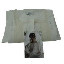 Camicia da notte Donna 100% Puro Lino con ricamo e pizzo TG 52 panna L039
