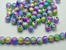"200 Peacock Multi-Color Stardust Acrylic Round Beads 8mm(0.31"") Spacer Finding"