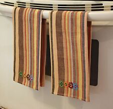 2 Guatemalan Handwoven Brown Stripe Fair Trade Hand Loomed Kitchen Towels