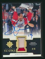 2019-20 Upper Deck Ultimate Collection Icon Patch Auto Gold Steve Yzerman 3/6