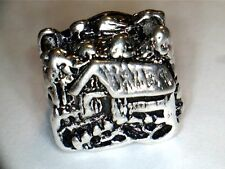 SILVER PLATED COVERED BRIDGE #2 CHARM SPACER BEAD ** SEE MY STORE FOR BRACELETS