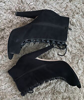 TOPSHOP Ankle Boot UK9 Black Suede Lace-up Peep Toe Boots Big Sizes Winter Trend