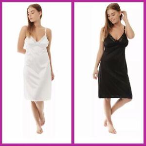 Ladies Full Length Slip Underskirt in 3 Colours Lace Size 12 upto 28 White,Black