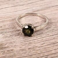 Natural Tourmaline Ring Stacking Tiny Dainty Simple 925 Sterling Silver Handmade
