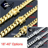 """18-40""""MEN Stainless Steel 7/10/12mm Gold/Silver Miami Cuban Curb Chain Necklace"""